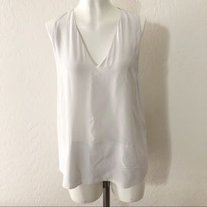 Everlane white silk loose top